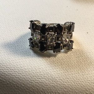 Jewelry - Silver ring with white and black stones